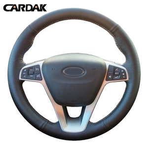 CARDAK Black Artificial Leather Hand-stitched Car Steering Wheel Cover for Lada Vesta 2015 2016 2017(China)