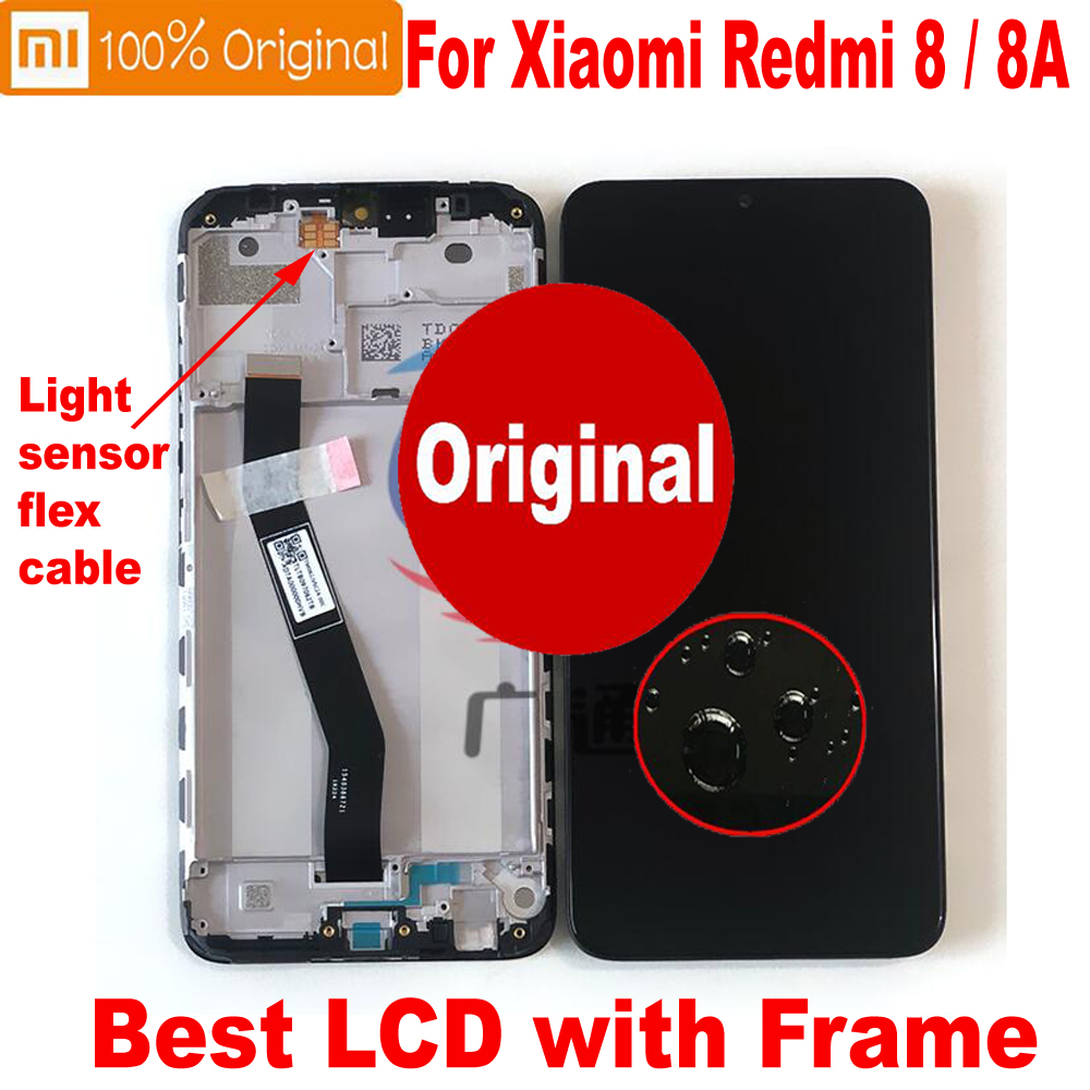 Original New Working For <font><b>Xiaomi</b></font> <font><b>Redmi</b></font> 8A LCD <font><b>Display</b></font> 10 Point Touch Panel Digitizer Assembly Screen Sensor + Frame For <font><b>Redmi</b></font> <font><b>8</b></font> image