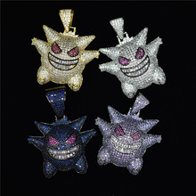 Gengar Necklace Pokemon Pendant Cubic Zircon Gold Silver Necklace Iced Out Chain Men's Charm Gift Hop Jewelry with Tennis Chain