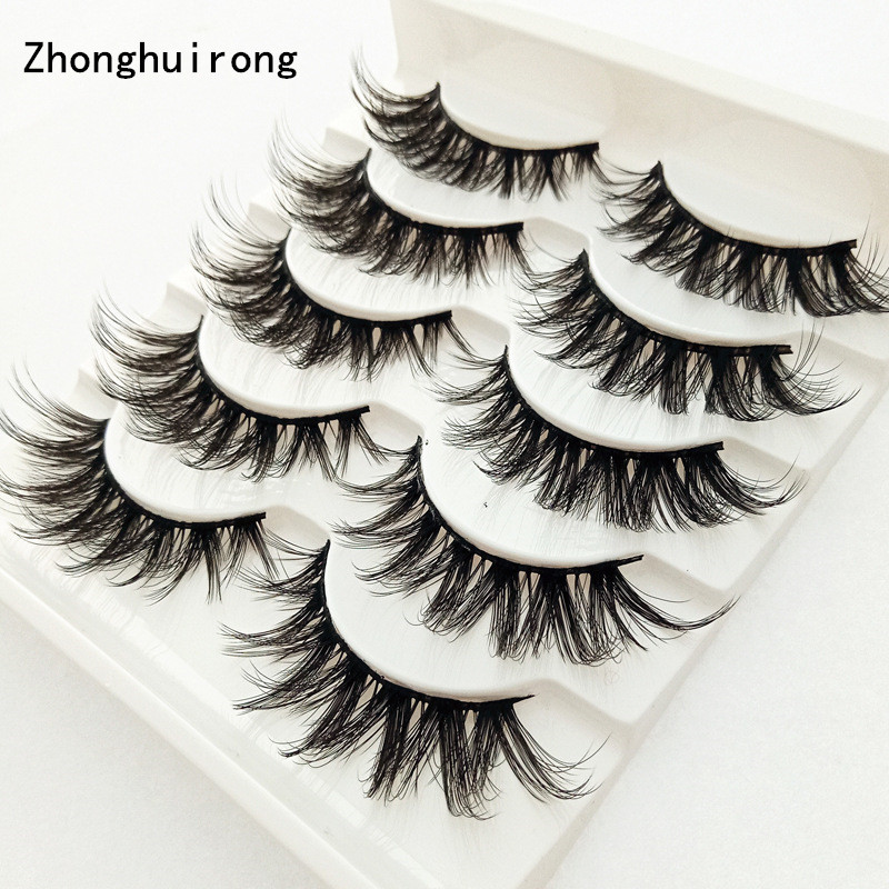 Makeup Tools Lashes Eyelashes Natural Mink 3d Effect Full Strip Slim Glamour 5 Pairs Multi-layer