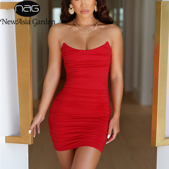 цена на NewAsia Ruched Strapless Party Dress Double Layers Sexy Summer Dress Women Backless Bodycon Midi Dresses With Chest Pad Clothes