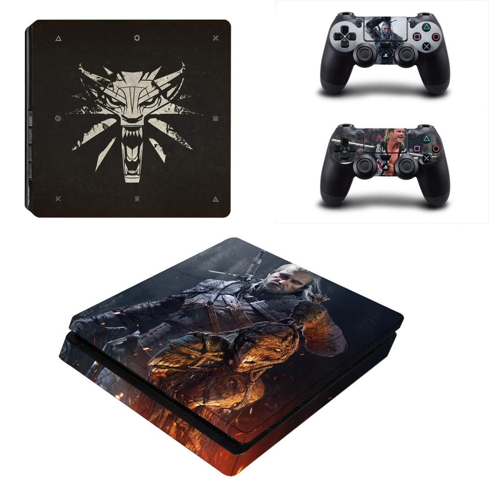 PS4 Slim Stickers PS 4 Play station 4 Slim Vinyl Skin Sticker Pegatinas For PlayStation 4 Slim console and controller image