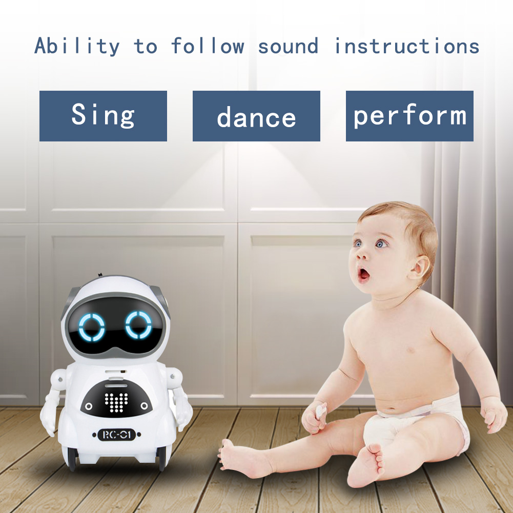 Mini Toy Record Singing Dancing Kids Gift Educational Interactive Dialogue Voice Control Telling Story Boys Girls Pocket Robot