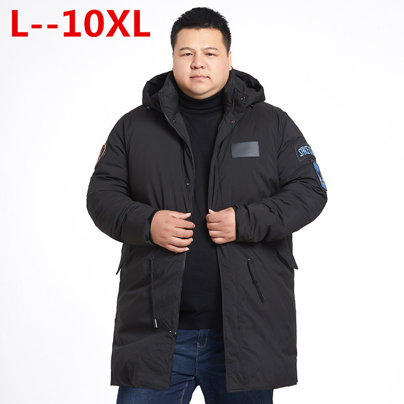 Plus Size 10XL 8XL 6XL 5XL New Clothing Jackets Business Long Thick Winter Coat Men Solid Parka Fashion Overcoat Outerwear