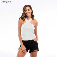 Hot New Women Cross Sexy Cotton Crop 2019 Summer Top Bustier Multicolor Sleeveless Cropped Vest Tank Camis