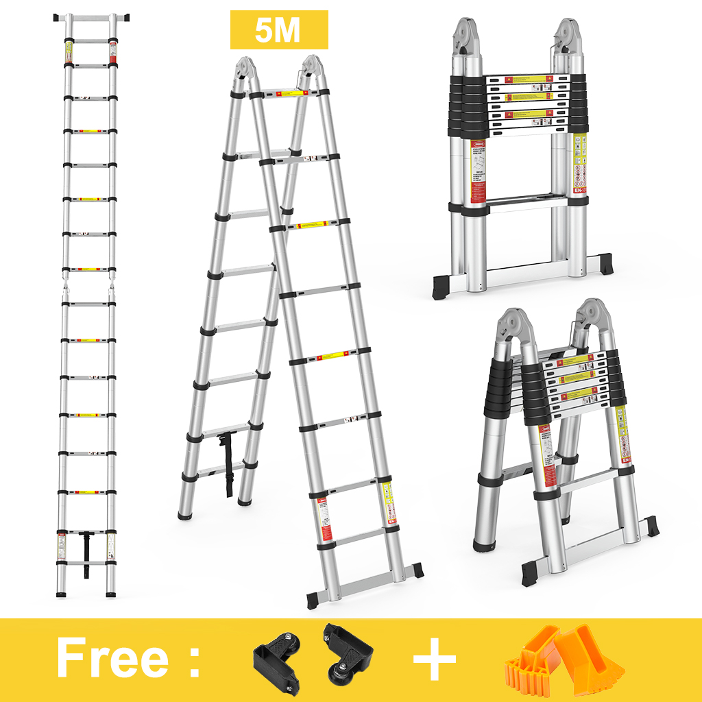 5M Portable Heavy Duty Multi-Purpose Aluminum Folding Telescoping A-Frame Ladder With Hinges For Home Loft Office