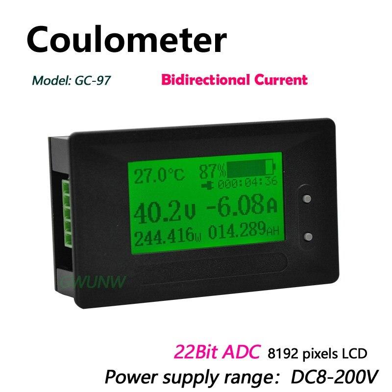 Вольтметр-Амперметр GC97, постоянный ток 8-200 в, а, тестер автомобильных аккумуляторов, кулометр, измеритель емкости и напряжения электричеств...