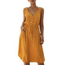 Women Shirt Dress Summer Button Sleeveless Dot Print Dress Casual Tight Waist Pocket Beach Floral Dress Female Midi Vestidos цены