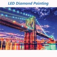 LED Diamond Painting 5D London Bridge Diamond Embroidery LED Colorful lights Full Round Drill Diamond Mosaic 30x40cm With Frame