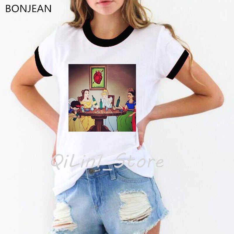 Śmieszne vogue koszulki z krótkim rękawem koszulki z nadrukami kobiet plus rozmiar sprawiają, że zabawa z królewna śnieżka księżniczka druku koszulka camiseta mujer streetwear topy