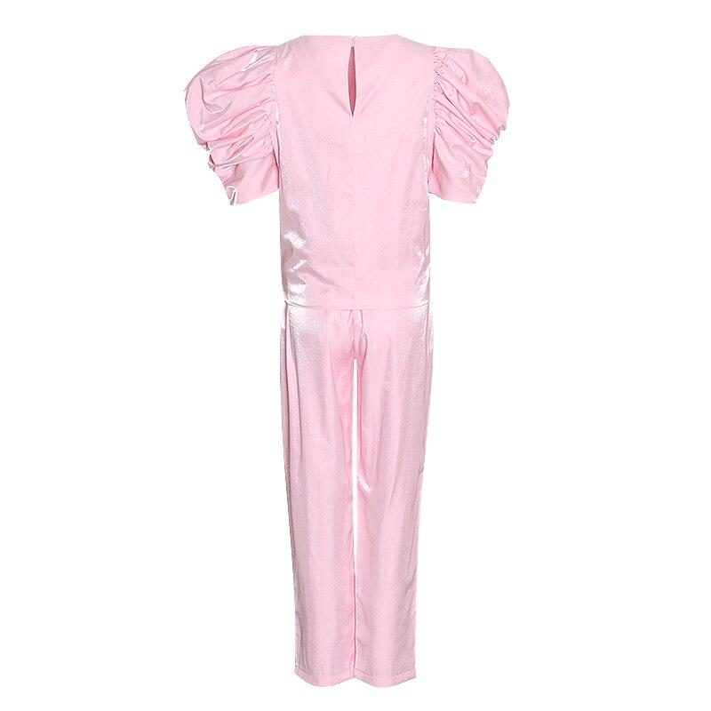 TWOTWINSTYLE Casual Rosa conjunto de dos piezas mujer O cuello camisa de manga farol cintura alta pantalones acanalados túnica traje femenino 2020 ropa nueva - 2