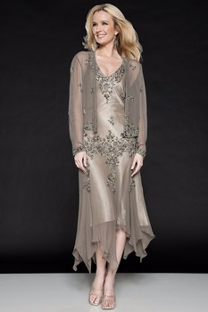 With Jacket Mother Of The Bride Dresses A-line Tea Length Chiffon Beaded Plus Size Short Groom Mother Dresses For Wedding 1