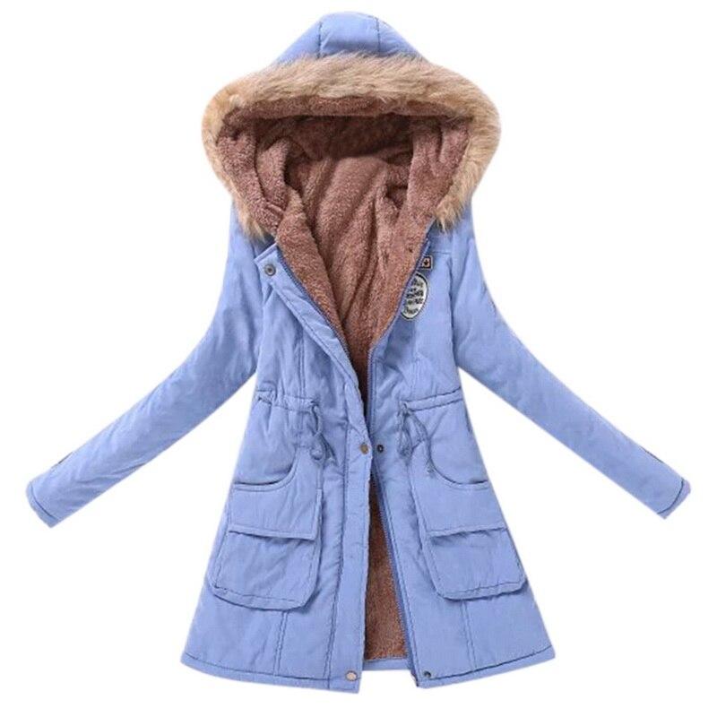 Oeak 2019 Women Long Winter Jacket Pink Red Parka Warm Padded  Female Hooded Plus Size