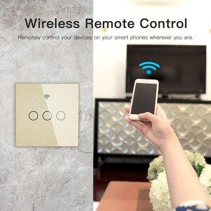 Image 4 - זהב WiFi חכם מתג קיר לא ניטרלי חוט צורך אלחוטי חכם חיים Tuya שלט רחוק יחיד אש לעבוד עם Alexa RF433