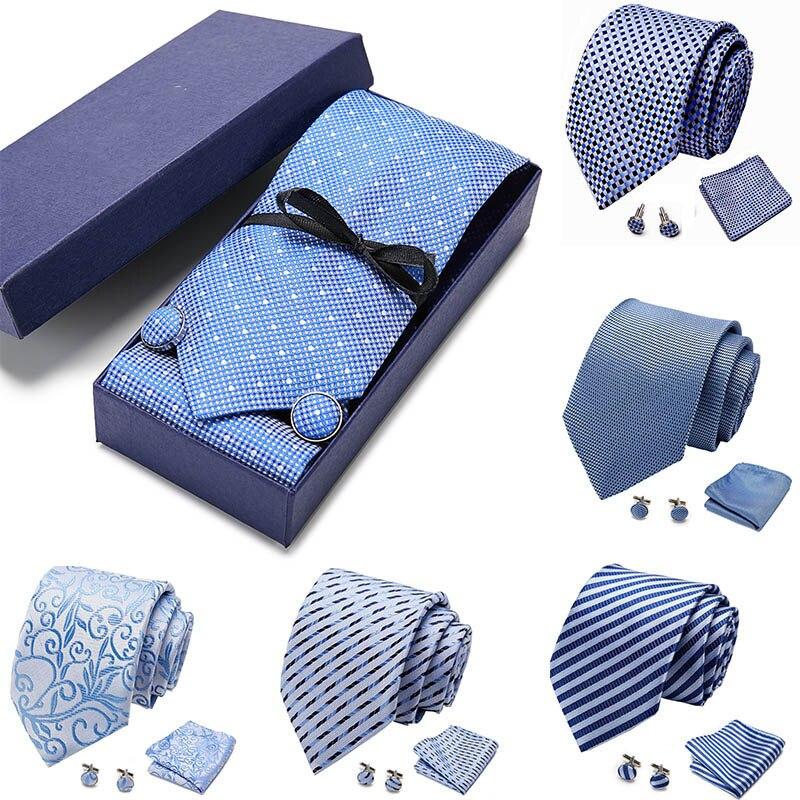 Gift Box Packing Wedding Mens Ties Handkerchief Cufflinks Sets Neckwear 7.5 Cm 100% Silk Cravats Striped Lattice Necktie For Men