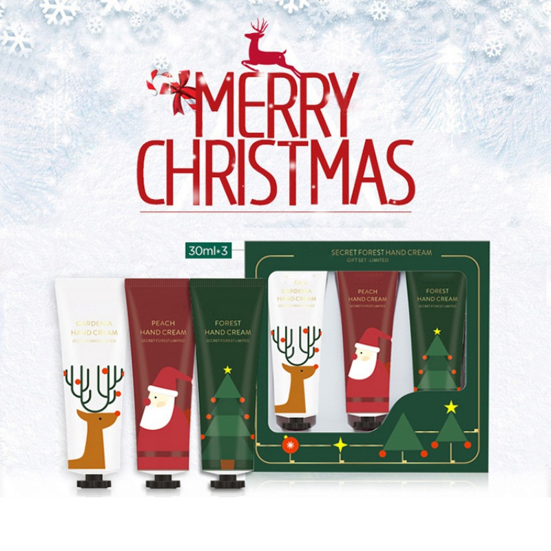 3pcs/set Christmas Hand Cream Set Moisturizing Nourishing Skin Lighten Fine Lines Hand Care Cream Winter Gift