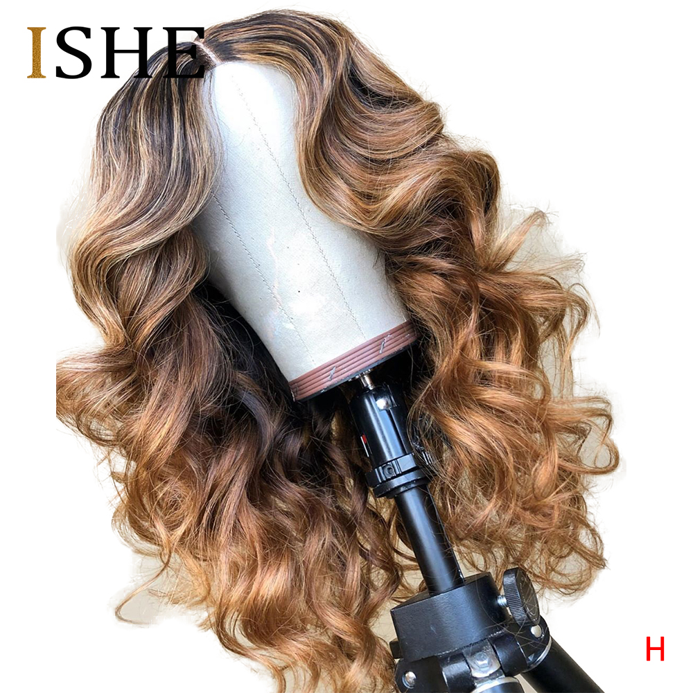 Highlight Honey Blonde Colored Ombre 360 Lace Frontal Human Hair Wigs Brazilian Body Wave Remy Full End Wigs For Black Women 150