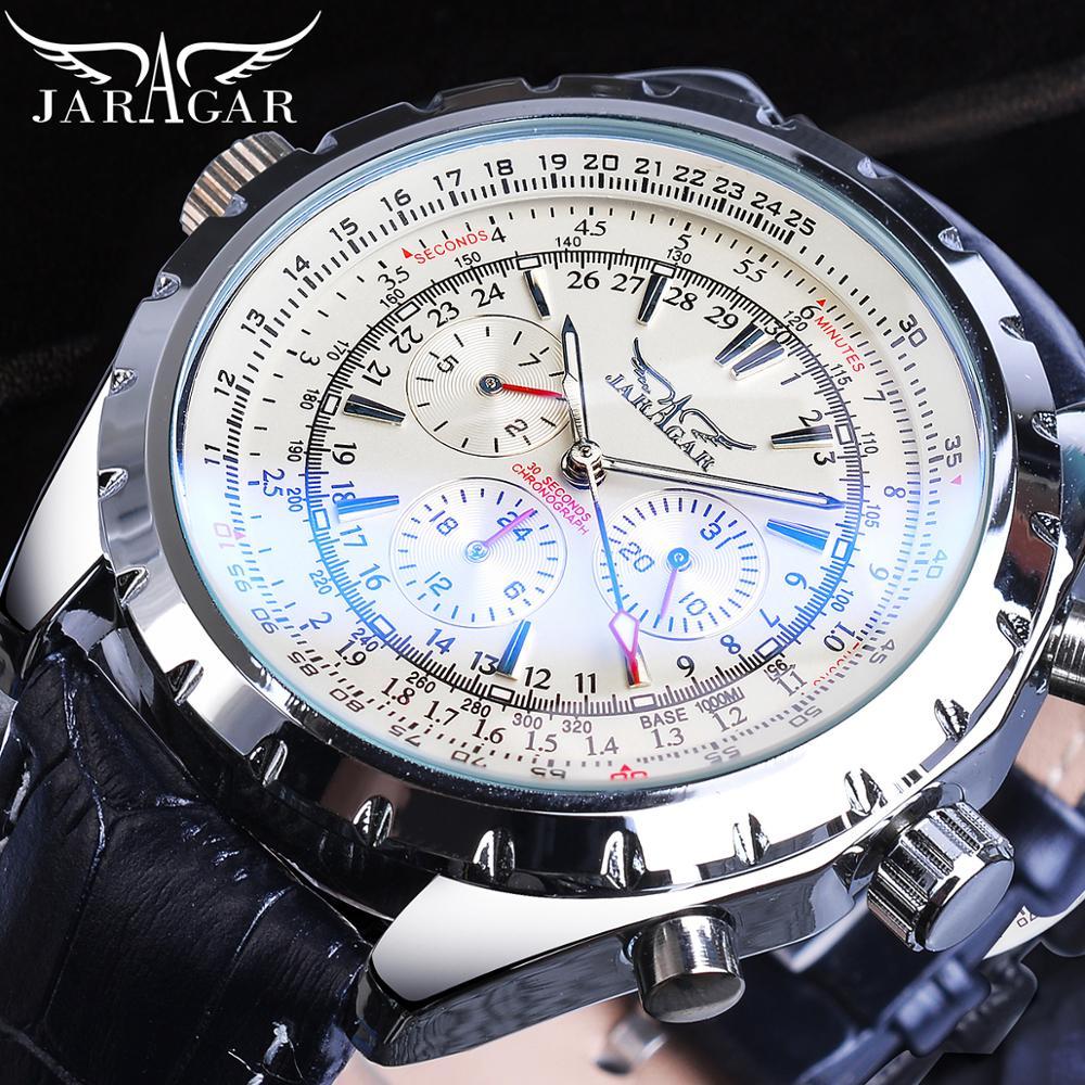 Jaragar 2020 Blue Glass Aviator Series Military True Men Sport Automatic Wrist Watch Top Brand Luxury Mechanical Male Clock Hour 1