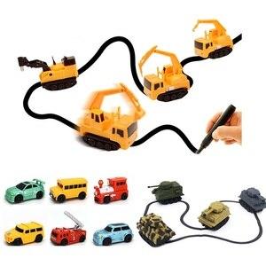 No Battery Inductive Toys Drawing Traking Follow Line Robot Truck Induction Car Diecast Vehicle Magic Pen Toy Diy Penguin Dropsh(China)