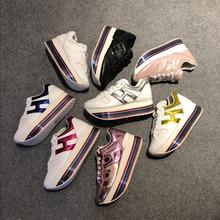 27 farben Marke Stil H Turnschuhe Flache Plattform Frauen Schuhe Bunte Dicken Boden Erhöhen 6cm Damen Schuhe Regenbogen Sport schuhe