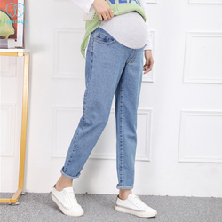 1988# Washed Denim Maternity Harem Dad Jeans Loose Casual Pants For Pregnant Women High Waist Belly Pregnancy Straight Trousers