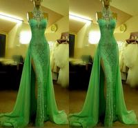 2019 Emerald Green Lace Evening Dresses High Neck with Crystal Arabic Evening Party Gowns Long Side Slit Dubai Prom Dresses