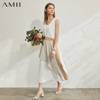 AMII Minimalism Primavera Verano moda empalmada de cintura alta para mujer, vestido informal sin mangas hasta la pantorrilla Drss 12080042