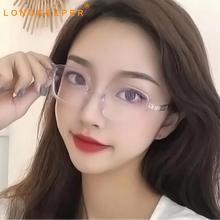 LongKeeper Anti Blue Light Glasses Women Vintage Square Computer  Eyeglasses Men Transparent Optical Spectacle Frame