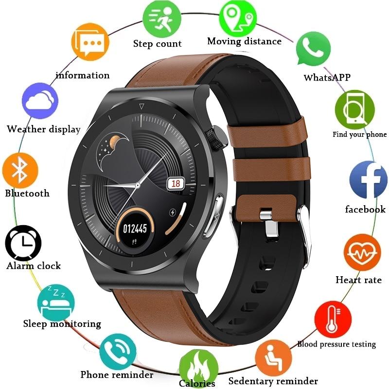 Bluetooth наручные Смарт-часы с Для мужчин IP68 Водонепроницаемый Поддержка ЭКГ кровяное давление тела Температура, подходит для устройств на баз...