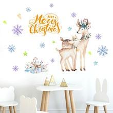 Рождество ручная роспись олень ПВХ многоразовые наклейки на стену простые наклейки для гостиной украшения 90x60 см 9,4