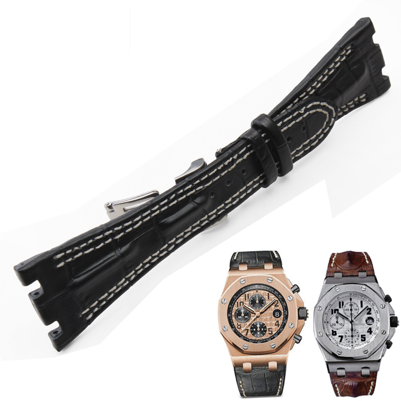 High quality genuine leather watchband <font><b>AP</b></font> <font><b>watchs</b></font> <font><b>band</b></font> 28mm with stainless steel folding clasp double line strap image