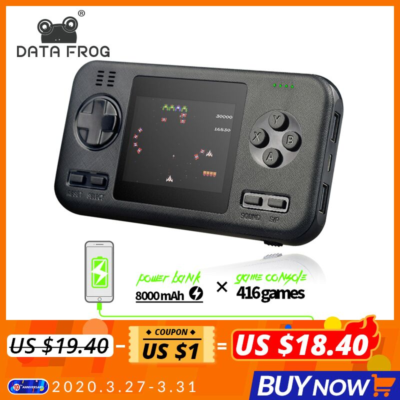 DATA FROG Handheld Portable Retro Game Console with 8000mAh Power Bank Buil-in 416 Classic Games Mini Handheld Player Console