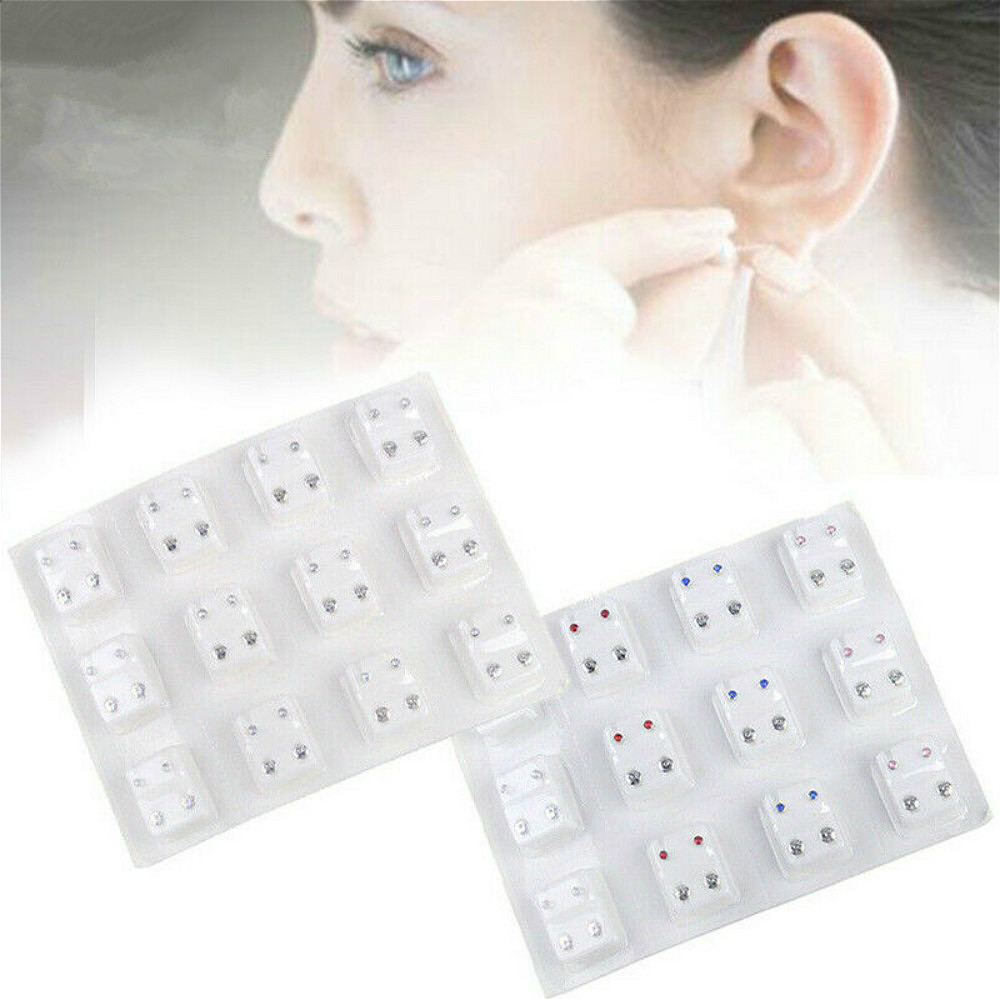 12 Pairs Ear Piercing Special Ear Studs Surgical Steel Ear Studs Earrings Set Medical Ear Piercing Tool Kits Jewelry Ear Studs