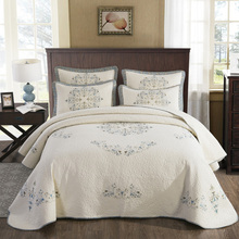 Bedspreads Quilt-Set Super-King Cotton Luxury Blanket Bed-Cover Embroidered Double-Bed