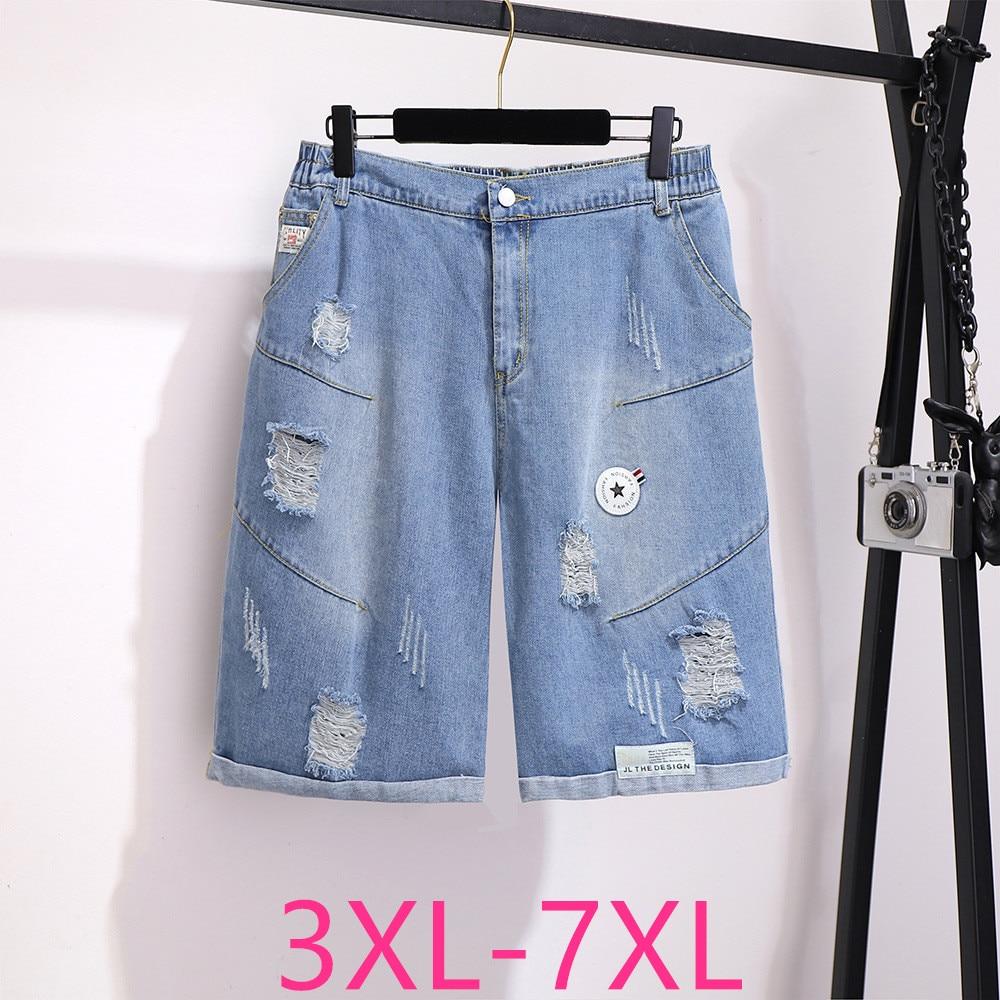 2020 Spring Summer Plus Size Denim Shorts For Women Large Loose Casual Elastic Waist Hole Retro Shorts Blue 3XL 4XL 5XL 6XL 7XL