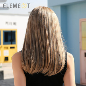 """Image 5 - Element 18"""" Blonde Synthetic Wig with Bangs Long Straight Natural Headline Heat Resistant Hair Cosplay Party Wigs for Women"""