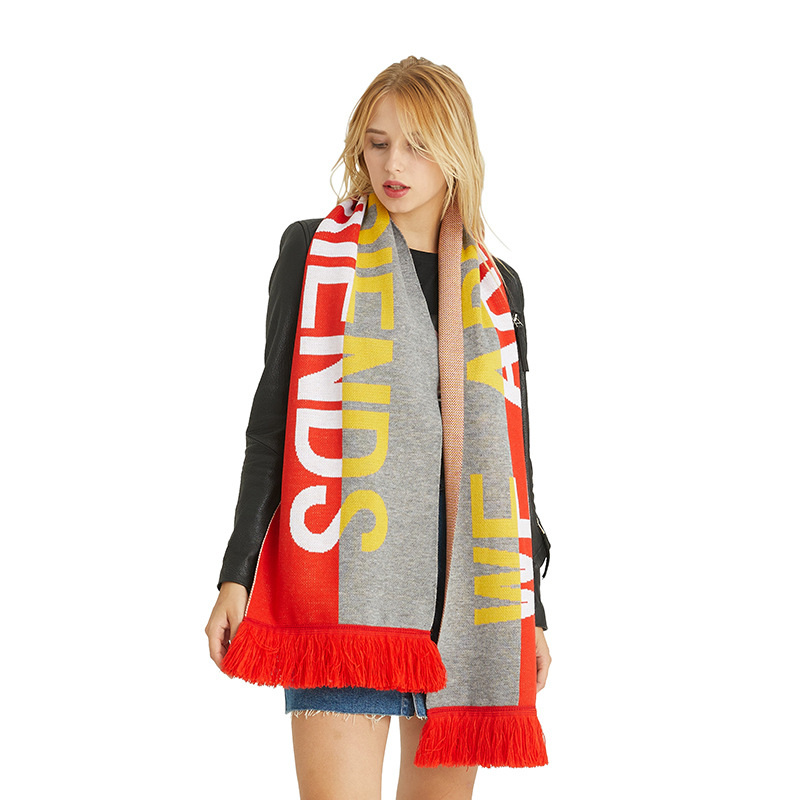 Autumn And Winter Female Baitiechao Hip-hop Scarf Couple European And American Neck New Type Individual Letter Pattern Printing