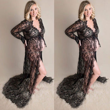 Women Fashion Pregnant Lace Dress Sexy Deep V Neck Long Sleeve Elastic High Waist Sheer Lace Maxi Long Dresses bell sleeve contrast lace tie waist maxi dress