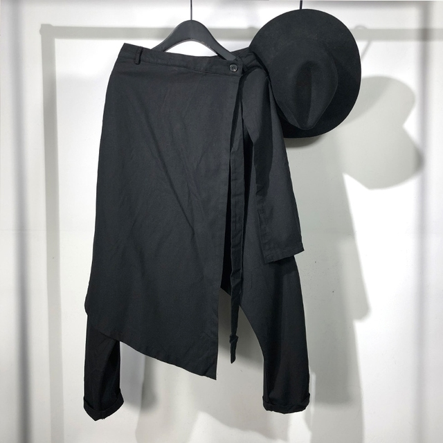 Owen Seak Men Casual Harem Pants Cross High Street Wear Hip HOP Ankle Length Pants Men's Gothic Sweatpants Spring Black Pants 1