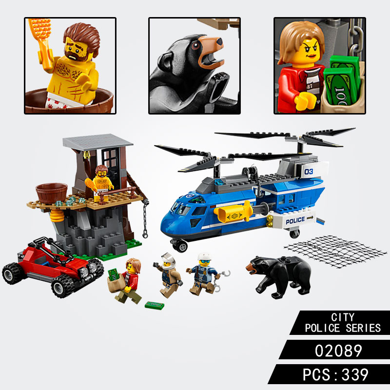 For GSBAN Citys Mountain Arrest Sets Police Helicopter Buggy Figure Model Building Blocks 10863 Assemble Toys For Children