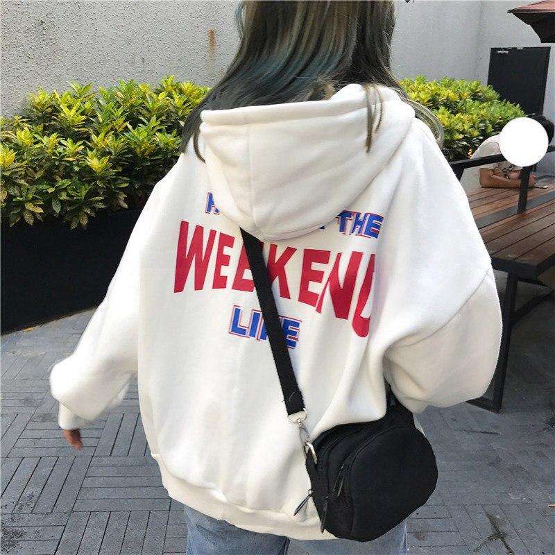 Letter Printed Hoodies Women Plus Velvet Loose Hooded Trendy Pockets Sweatshirts Womens Korean Style Harajuku Hoody Pullovers