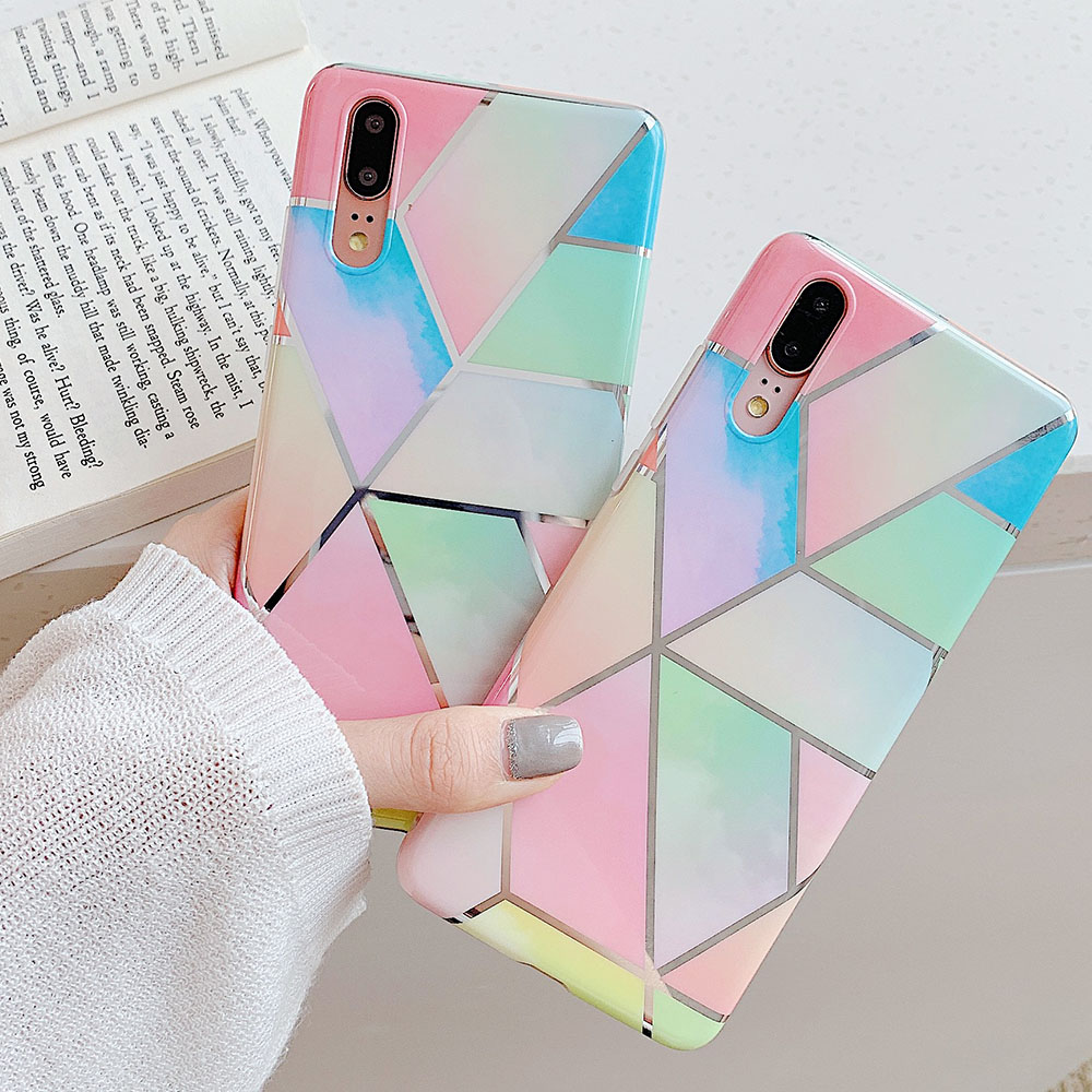 Geometric Marble Phone Case For Huawei P20 P30 Lite Pro Mate 20 30 Lite Pro Nova 4 4e 5 5i Pro Shell Electroplated Back Cover