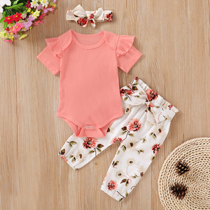 Pudcoco Newborn Baby Girl Clothes Solid Color Short Sleeve Knitted Cotton Romper Tops Flower Print Long Pants Headband 3Pcs Set