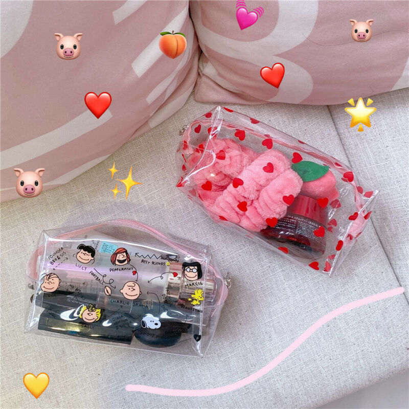Woman Cosmetic Bags Peach Heart-shaped Girl  Strawberry Portable Travel Waterproof Transparent  Storage Pouch Makeup Case