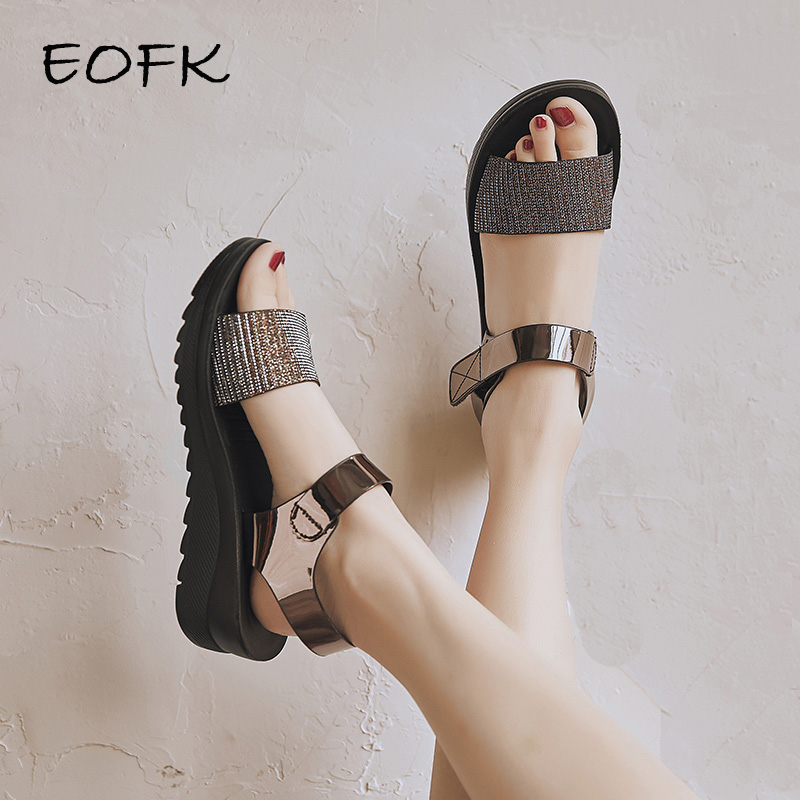EOFK 2020 New Summer Sandals For Women Flat Shoes Woman Hoop & Loop Fashion Simple Shinny Glitter Ladies Flats Sandals