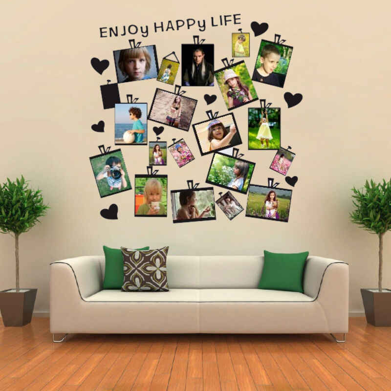 US Heart Photo Frame Wall Sticker Acrylic Collage Picture Office Home Decor