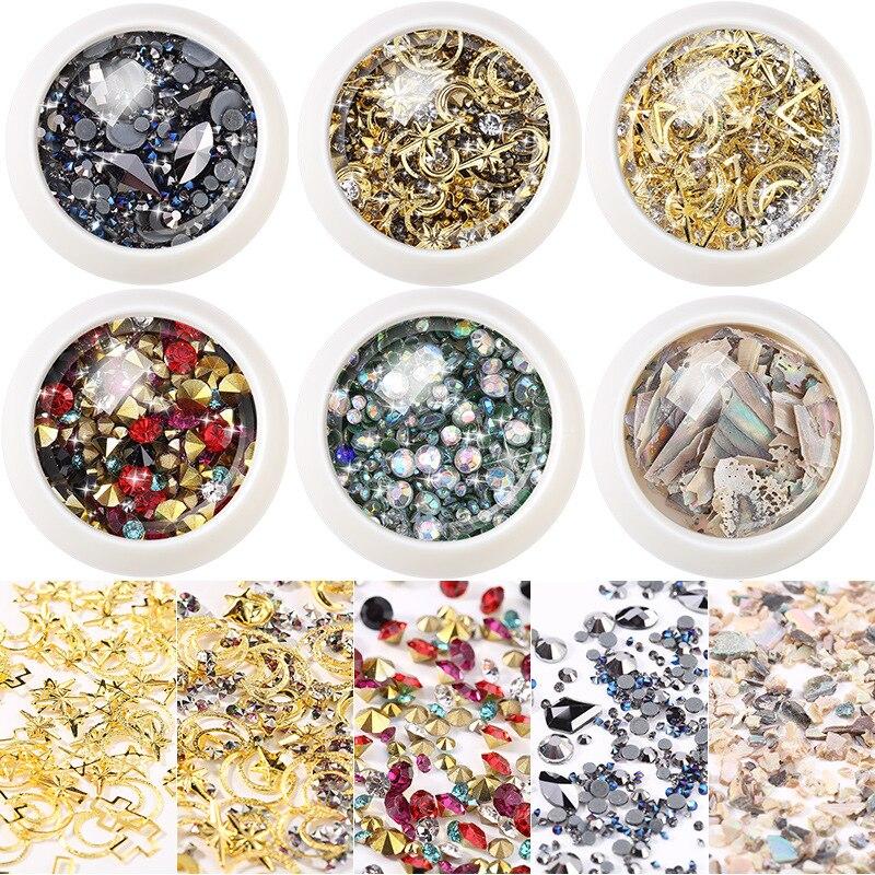 Nail Ornament Natural Shell Stickers Hot Sales Moon And Stars Rivet Micro Drill Bottom Tip Man-made Diamond Flat-bottomed Diamon