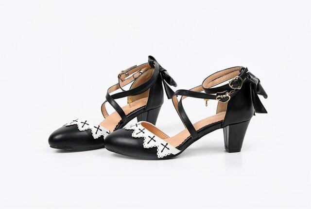 летние аниме косплей туфли лолиты вышивка крест бант обувь kawaii фотография