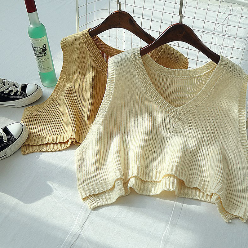 Loose V-neck Knitted Vest Sweater Vest Women's Fall 2019  Academic Outside Women's Shoulder