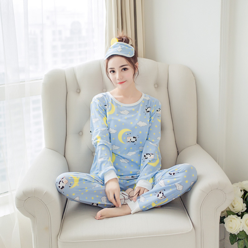 Pajamas Women's Autumn Korean-style Cute Cartoon Long Sleeve Trousers Two-Piece Set Fresh Students Loose Tracksuit Women's